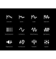 Sound wave cycle icons on black background vector