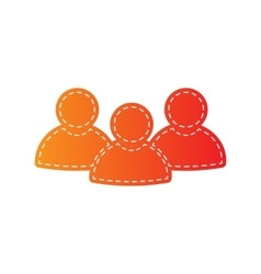 Team work sign orange applique isolated vector