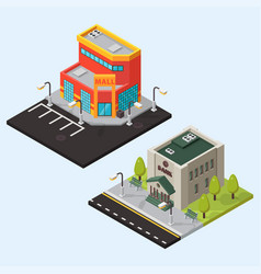 Bank and store isometric buildings isolated vector
