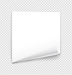 Bended paper sheet isolated on transparent vector image vector image