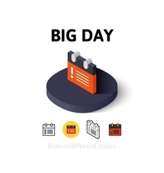 Big day icon in different style vector