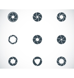 Black camera shutter icons set vector