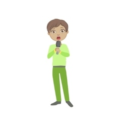 Boy in green outfit singing in karaoke vector