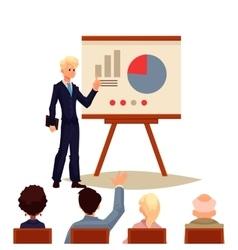 Businessman giving presentation using a board vector