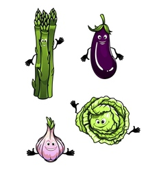 Cabbage spinach eggplant and garlic vector image