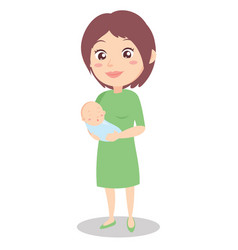 Character of mother with newborn baby vector