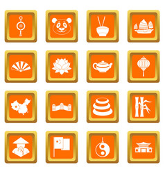 China travel symbols icons set orange vector