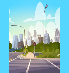 City street skyscraper buildings road view modern vector