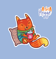 cute baby fox with coffee cute decorative patch vector image vector image