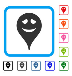 Embarrassment smiley map marker framed icon vector