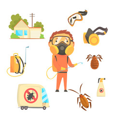 Exterminators of insects in orange chemical vector