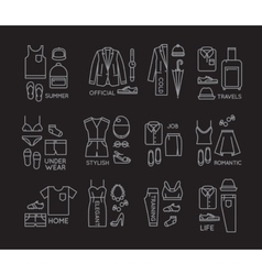 Flat clothes complect icons black vector image vector image