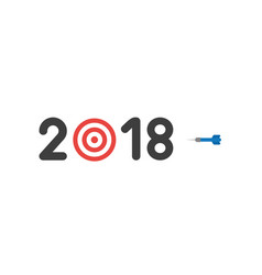 Flat design style concept of 2018 with bulls eye vector
