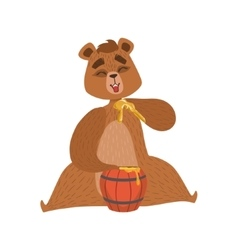 Girly cartoon brown bear character eatin honey vector