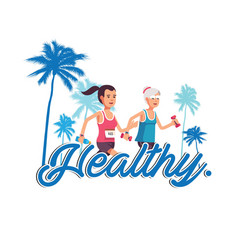 Healthy human jogging background image vector
