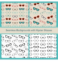 Hipster glasses seamless patterns vector