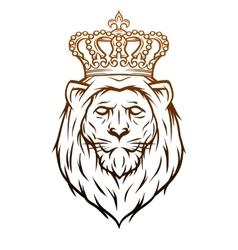 King lion heraldic symbol vector