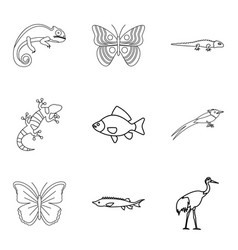 lacertian icons set outline style vector image vector image