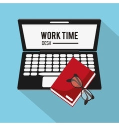 Laptop book and worktime design vector