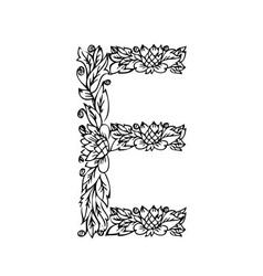 letters floral e vector image vector image