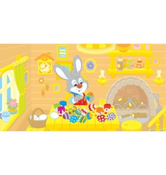 Little Bunny paints Easter eggs vector image vector image