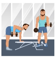 Male characters doing fitness vector