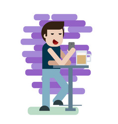man sitting in the bar with phone and drinking a vector image