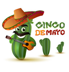 Mexican fun cactus in sombrero plays guitar cinco vector