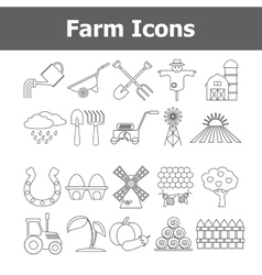 Outline farm icons vector