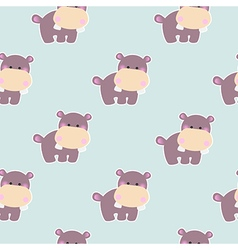 Pattern with a cute baby hippo vector image vector image