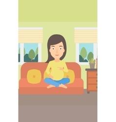 Pregnant woman sitting on sofa vector