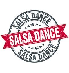 Salsa dance red round grunge vintage ribbon stamp vector