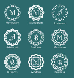 set of creative monograms template ornament line vector image