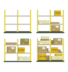 Set of racks with boxes in flat design vector