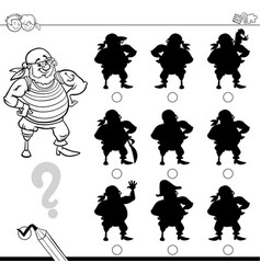 shadow game with pirate for coloring vector image vector image