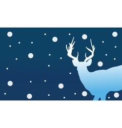 Silhouette of deer christmas winter vector