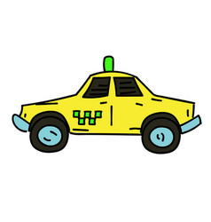 taxi cab cartoon hand drawn image vector image