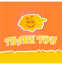 Thank you on orange striped paper vector image vector image