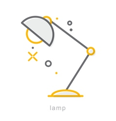 Thin line icons lamp vector