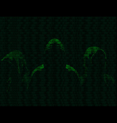 three anonymous from binary digits vector image