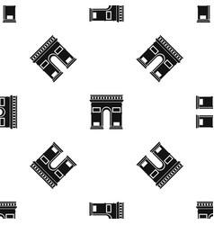 Triumphal arch pattern seamless black vector