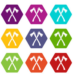Two crossed axes icon set color hexahedron vector