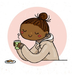 Cute doodle girl with cup of tea and cookies vector