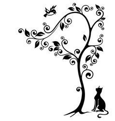 Cat under a tree vector