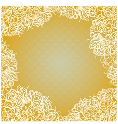Vintage card on background with lace ornament vector image