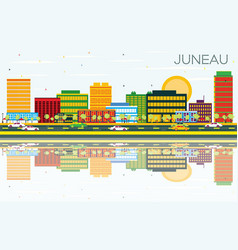 Juneau skyline with color buildings blue sky and vector