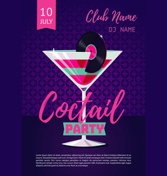 Coctail party poster for nightclub with glass and vector