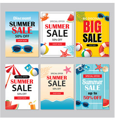 Summer sale emails and banners mobile templates vector