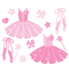 Set with ballet shoes and tutu dresses vector