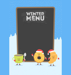Funny cute fast food coffee croissant and donut vector